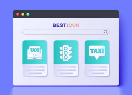 Set Traffic light, Laptop call taxi service and Map pointer with taxi icon. Vector.