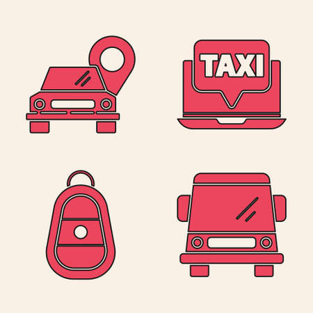 Set Car, Map pointer with taxi, Laptop call taxi service and Car key with remote icon. Vector.