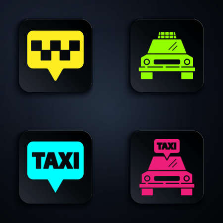 Set Taxi car, Map pointer with taxi, Map pointer with taxi and Taxi car. Black square button. Vector.