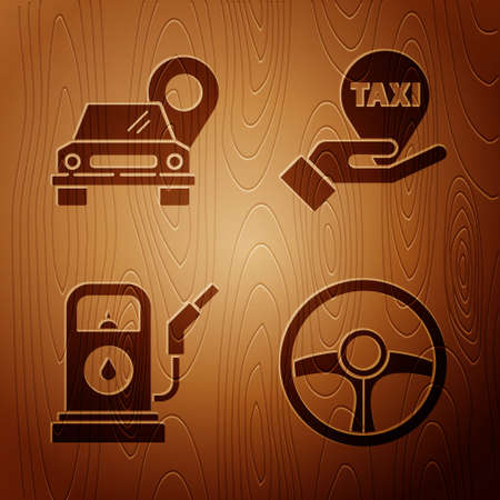Set Steering wheel, Map pointer with taxi, Petrol or Gas station and Hand on map pointer with taxi on wooden background. Vector. 일러스트