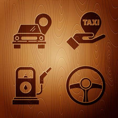 Set Steering wheel, Map pointer with taxi, Petrol or Gas station and Hand on map pointer with taxi on wooden background. Vector. Illusztráció