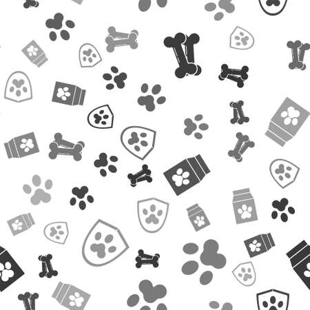 Set Dog bone, Paw print, Bag of food for pet and Animal health insurance on seamless pattern. Vector. Ilustrace