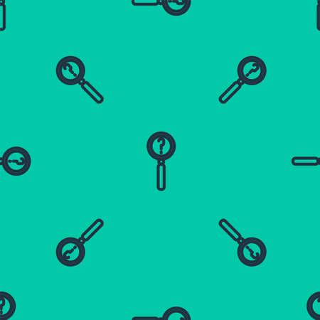 Blue line Magnifying glass with search icon isolated seamless pattern on green background. Detective is investigating. Vector Illustration.
