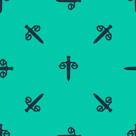 Blue line Scales of justice icon isolated seamless pattern on green background. Court of law symbol. Balance scale sign. Vector Illustration. Ilustração