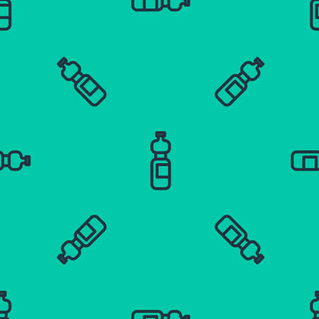 Blue line Bottle of water icon isolated seamless pattern on green background. Soda aqua drink sign. Vector Illustration.