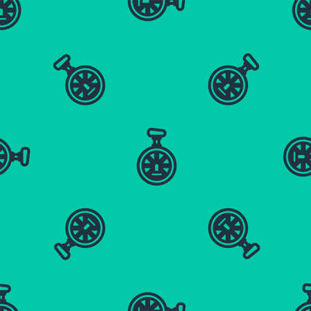 Blue line Unicycle or one wheel bicycle icon isolated seamless pattern on green background. Monowheel bicycle. Vector Illustration. Illusztráció