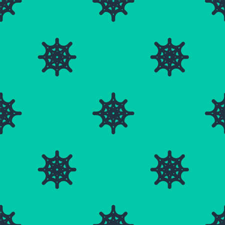 Blue line Spider web icon isolated seamless pattern on green background. Cobweb sign. Happy Halloween party. Vector Illustration.
