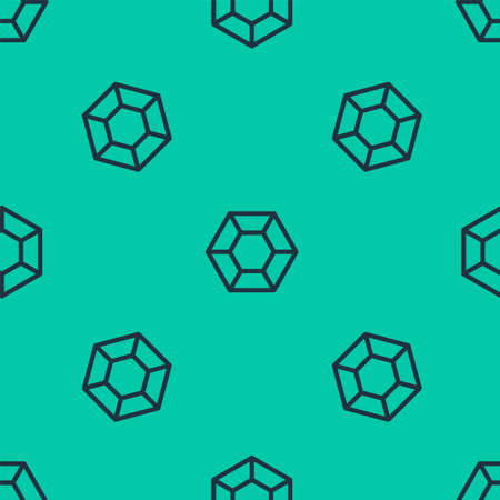 Blue line Magic stone icon isolated seamless pattern on green background. Fantasy crystal. Jewelry gem for game. Vector Illustration.