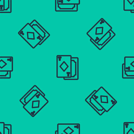 Blue line Playing cards icon isolated seamless pattern on green background. Casino gambling. Vector Illustration.