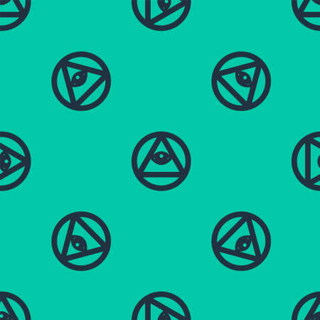 Blue line Masons symbol All-seeing eye of God icon isolated seamless pattern on green background. The eye of Providence in the triangle. Vector Illustration.
