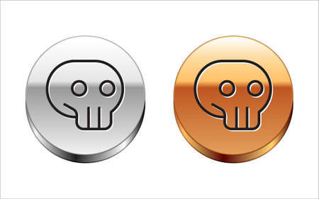 Black line Skull icon isolated on white background. Silver-gold circle button. Vector.