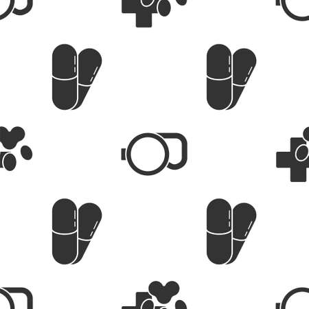 Set Veterinary clinic symbol, Retractable cord leash and Dog and pills on seamless pattern. Vector.