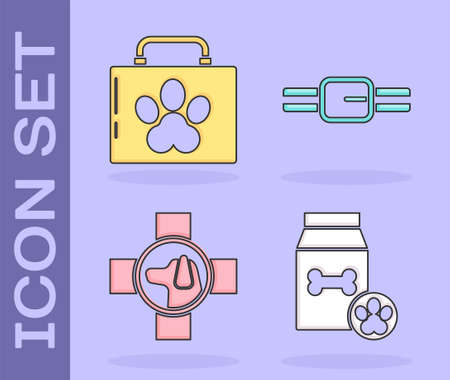 Set Bag of food for pet, Pet first aid kit, Veterinary clinic symbol and Collar with name tag icon. Vector.