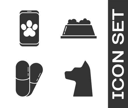 Set Cat, Online veterinary clinic symbol, Dog and pills and Pet food bowl icon. Vector.