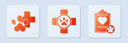 Set Veterinary clinic symbol, Veterinary clinic symbol and Clipboard with medical clinical record pet. White square button. Vector.