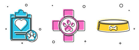 Set Clipboard with medical clinical record pet, Veterinary clinic symbol and Pet food bowl icon. Vector. Çizim