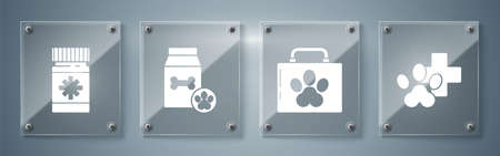 Set Veterinary clinic symbol, Pet first aid kit, Bag of food for pet and Dog medicine bottle and pills. Square glass panels. Vector.