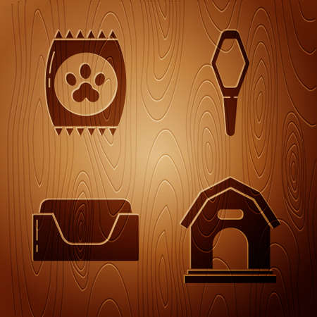 Set Dog house, Bag of food for pet, Pet bed and Pets vial medical on wooden background. Vector.