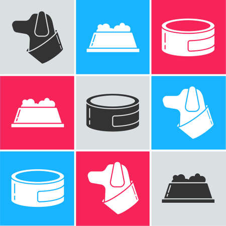Set Dog, Pet food bowl and Canned food icon. Vector.