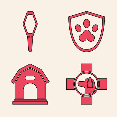 Set Veterinary clinic symbol, Pets vial medical, Animal health insurance and Dog house icon. Vector.