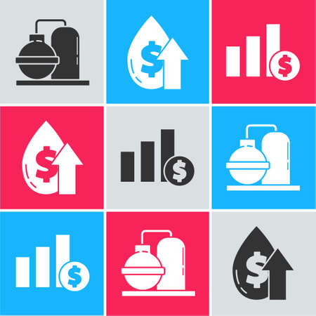Set Oil and gas industrial factory building, Oil price increase and Pie chart infographic and dollar icon. Vector. 일러스트