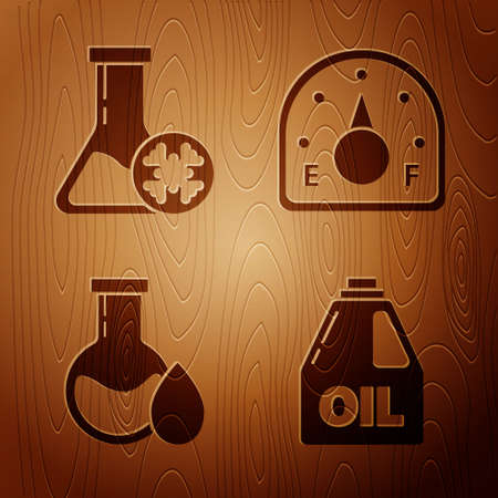 Set Canister for motor machine oil, Antifreeze test tube, Oil petrol test tube and Motor gas gauge on wooden background. Vector.