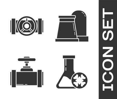 Set Antifreeze test tube, Industry metallic pipes and valve, Industry metallic pipes and valve and Oil and gas industrial factory building icon. Vector.