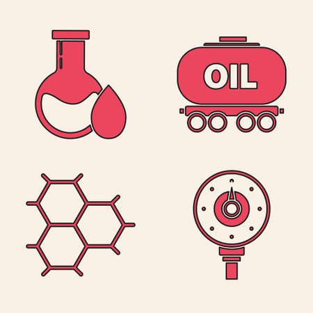 Set Motor gas gauge, Oil petrol test tube, Oil railway and Chemical formula consisting of benzene rings icon. Vector. Vettoriali