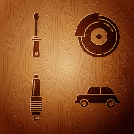 Set Car, Screwdriver, Car spark plug and Car brake disk with caliper on wooden background. Vector. Illusztráció