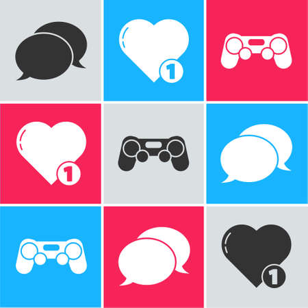 Set Speech bubble chat, Like and heart and Gamepad icon. Vector.