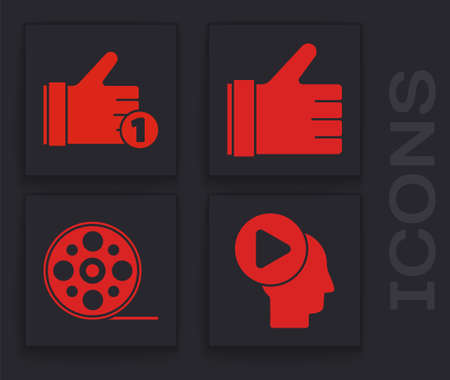 Set Head people with play button, Hand like, Hand like and Film reel icon. Vector.