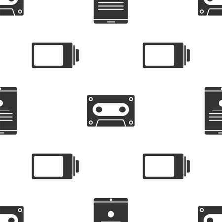 Set Tablet, Retro audio cassette tape and Battery charge level indicator on seamless pattern. Vector.