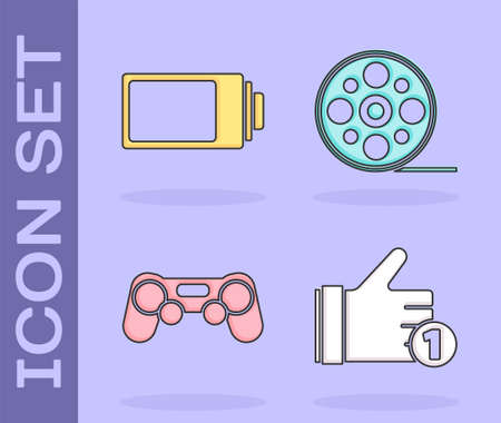Set Hand like, Battery charge level indicator, Gamepad and Film reel icon. Vector. Stock Illustratie