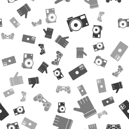 Set Photo camera, Hand like, Smartphone, mobile phone and Gamepad on seamless pattern. Vector. Stock Illustratie