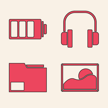 Set Picture landscape, Battery charge level indicator, Headphones and Document folder icon. Vector.