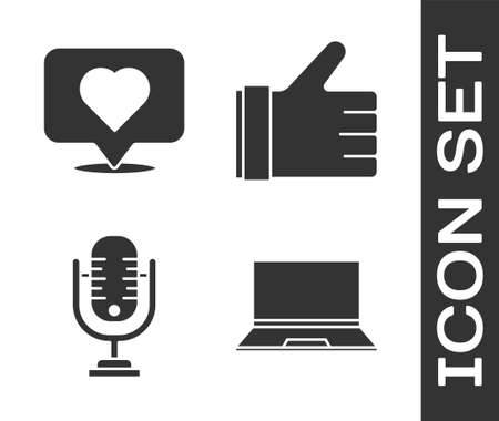 Set Laptop, Like and heart, Microphone and Hand like icon. Vector.
