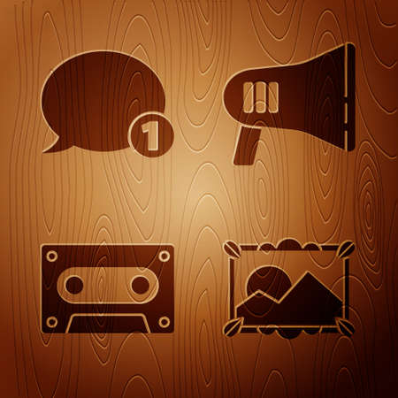 Set Picture landscape, Speech bubble chat, Retro audio cassette tape and Megaphone on wooden background. Vector. Ilustrace