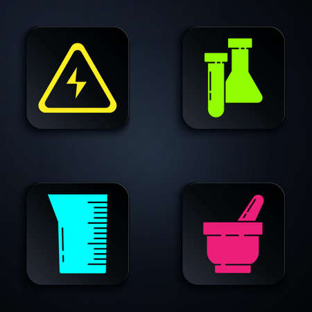 Set Mortar and pestle, High voltage sign, Laboratory glassware or beaker and Test tube and flask chemical. Black square button. Vector. Ilustração