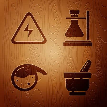 Set Mortar and pestle, High voltage sign, Test tube and flask chemical and Test tube flask on stand on wooden background. Vector. Ilustração