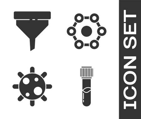 Set Test tube and flask chemical, Funnel or filter, Bacteria and Chemical formula icon. Vector.