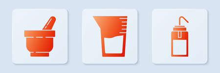 Set Laboratory glassware or beaker, Mortar and pestle and Laboratory wash bottle. White square button. Vector.
