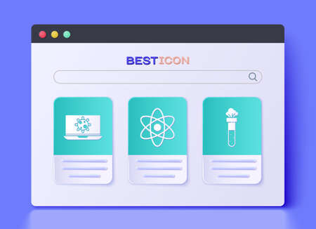 Set Atom, Bacteria on laptop and Test tube and flask chemical icon. Vector.