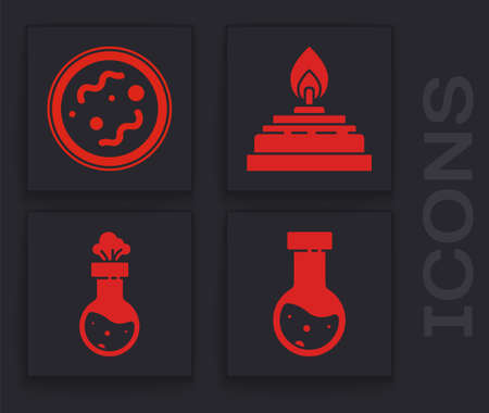 Set Test tube and flask chemical, Bacteria, Alcohol or spirit burner and Test tube and flask chemical icon. Vector. Stok Fotoğraf - 151152835