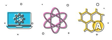 Set Bacteria on laptop, Atom and Chemical formula icon. Vector. Çizim