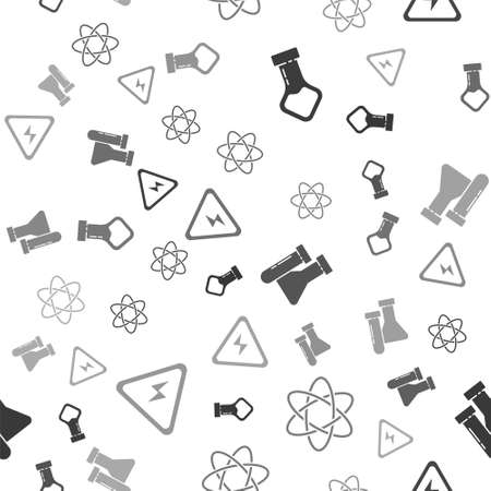 Set Test tube and flask chemical, Atom, Test tube and flask chemical and High voltage sign on seamless pattern. Vector. Ilustração