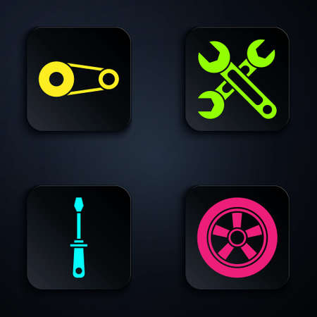 Set Car wheel, Timing belt kit, Screwdriver and Wrench. Black square button. Vector.