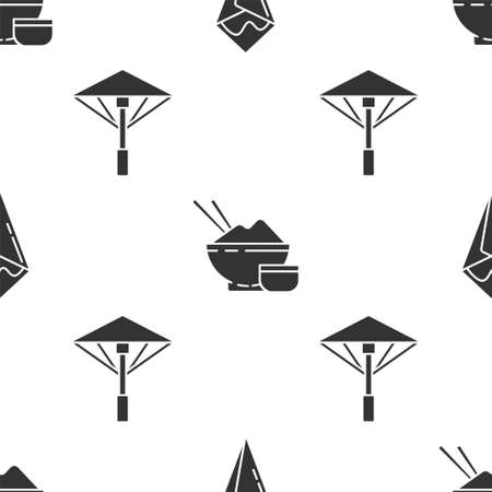 Set Temaki roll, Rice in a bowl with chopstick and Japanese umbrella from the sun on seamless pattern. Vector.
