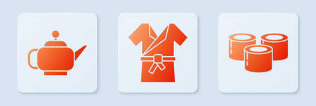 Set Japanese costume Kimono, Japanese tea ceremony and Sushi. White square button. Vector.