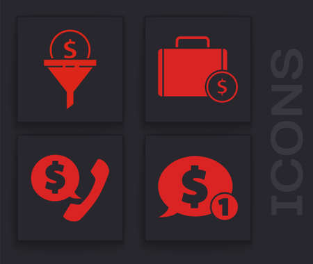 Set Speech bubble with dollar, Lead management, Briefcase and money and Telephone handset and speech bubble chat icon. Vector.
