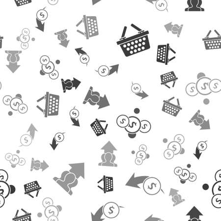 Set Shopping basket, Financial growth and coin, Coin money with dollar and Growth chart and progress in people crowd on seamless pattern. Vector.